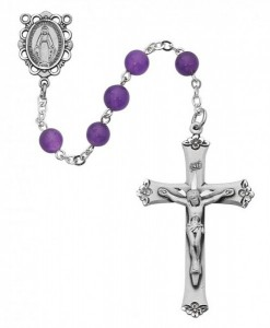 Genuine Amethyst Rosary with Open Cut centerpiece [MVRB1034]