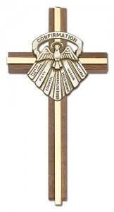 "Gifts of Confirmation Wall Cross in Walnut and Metal Inlay 6"" [CRB0064]"