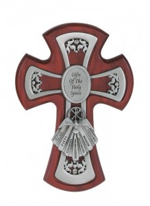 Gifts of the Holy Spirit Cherry Stained Cross 6 Inch [CR3517]