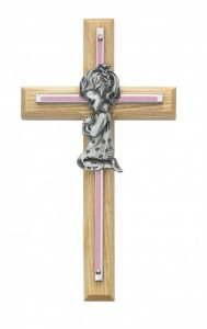 Girl Cross - Oak Wood with Brass and Pink Accent [CR3712]
