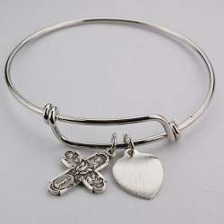 Girl's 4-Way Cross Bangle Bracelet Engravable Heart Charm [MVBR1023]