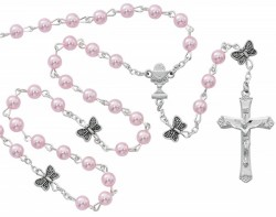 Girls Butterfly Rosary with Pink Glass Beads [MV1077]