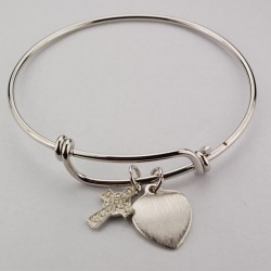 Girl's Celtic Cross Bangle Bracelet Engravable Heart Charm [MVBR1021]