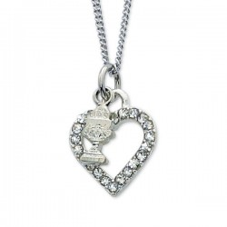 Girls Chalice Charm with Crystal Heart Necklace [MV1085]