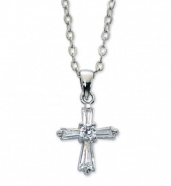 Girls Crystal Clear Cross Necklace [MV1064]