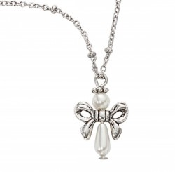 Girls Faux Pearl Angel Shape Necklace [MV1084]