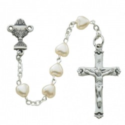 Girl's First Communion Rosary with Pearl Beads [MVC002]