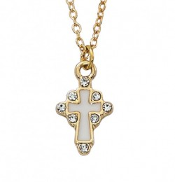 Girls Gold Tone White Enamel Cross Necklace [MV1062]