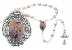 Girl's Guardian Angel Pink Rosary with Rosary Box [MVR053]