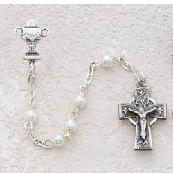 Girl's Irish First Communion Rosary in Pewter [MVC0030]