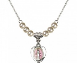 Girl's Miraculous Medal with Faux Pearl Necklace [BLST0700]