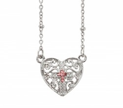 Girls Open-Cut Heart Necklace with Pink Cross [MV1083]