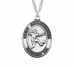 Girls Oval Soccer Necklace Sterling Silver or Pewter [MV2058]