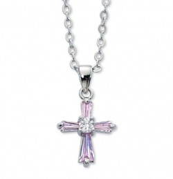 Girls Pink Cubic Zirconia Cross Necklace [MV1066]