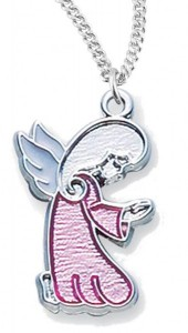 Girl's Pink Enamel Praying Angel Pendant [HM0803]