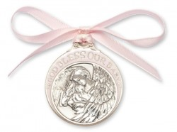 Girl's Pink Ribbon Guardian Angel Crib Medal in Pewter [BLCRB007]