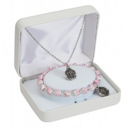 Girls Pink and White Stretch Bracelet and Miraculous Pendant Gift Set [MV1074]