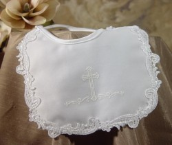 Girls Poly Satin Baptism Bib with Puff Ink Cross & Venise Lace [BIBLT006]