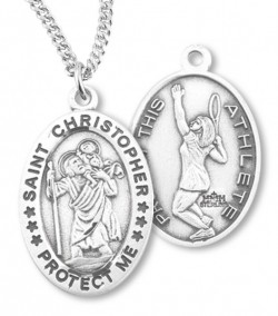 Women's St. Christopher Tennis Medal Sterling Silver [HMM1089]