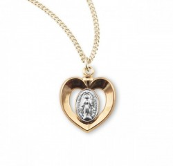 Girl's Two-Tone Miraculous Heart Necklace [HMM3206]