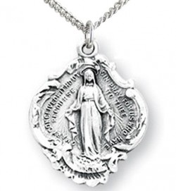 Girl's Wide Budded Edge Miraculous Pendant [HM0778]