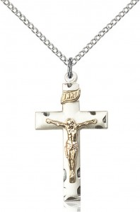 Women's Straight Edge Crucifix Medal Two Tone [BC0057]