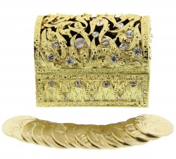 Gold Tone Arras in Treasure Chest Keepsake Box [SFA0003]