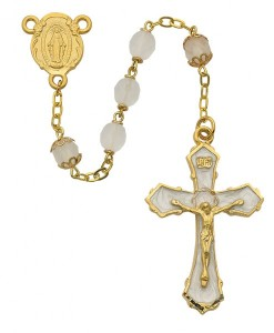 Gold Tone and White Enamel Women's Rosary [MVRB1027]