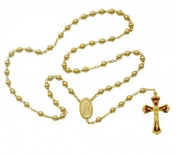 Gold plated Divine Mercy Rosary with Enamel Center [MVRB1039]