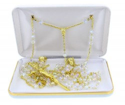 Gold tone Crystal Wedding Lasso Rosary with Gold Tone Crucifix [RB3570]