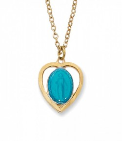 Gold Plated Heart Miraculous Medal Necklace in Two Colors [MV2041]