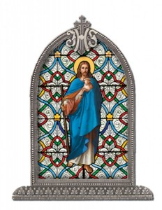 Good Shepherd Glass Art in Arched Frame [HFA8304]