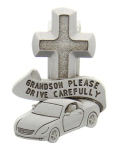 "Grandson Please Drive Carefully Visor Clip, Pewter - 2 1/2""H [AU0110]"