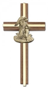"Guardian Angel 6"" Wall Cross in Walnut Wood and Metal Inlay [CRB0056]"