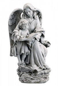"Guardian Angel with Child and Book Garden Statue 19"" High [CBSD026]"