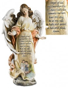 "Guardian Angel with Children Prayer Statue - 12.5"" High [MILCH030]"