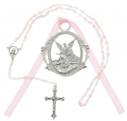 Guardian Angel Crib Medal with Baby Rosary Set - Girl [CFSRBS0013]