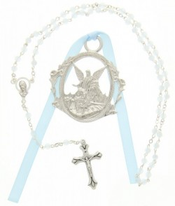 Guardian Angel Crib Medal with Baby Rosary Set - Boy [CFSRBS0012]