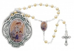 Guardian Angel Faux Pearl Rosary with Ornate Box [MVR051]