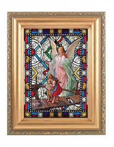 Guardian Angel Gold Frame Stained Glass Effect [HFA4612]