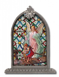 Guardian Angel Grace Glass Art in Arched Frame [HFA8312]