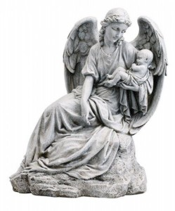 "Guardian Angel Holing Infant Statue 16.5"" High [CBSD024]"