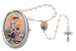 Guardian Angel Pink Faux Pearl Rosary with Box - Silver [MVR054]
