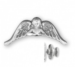 Guardian Angel with Arched Wings Lapel Pin Sterling Silver [HMLP005]