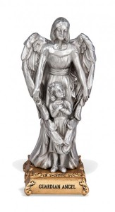 Guardian Angel with Girl Pewter Statue 4 Inch [HRST357]