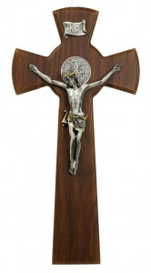 Hardwood St. Benedict Crucifix with Two-Tone Corpus 10 Inch [CRX4408]