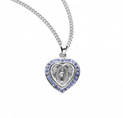 Heart Crystal Cubic Zirconia Miraculous Medal [HMM3259]