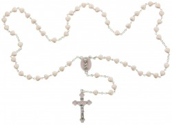 Heart Shaped Pink Glass Bead Baby Rosary [HBR002]