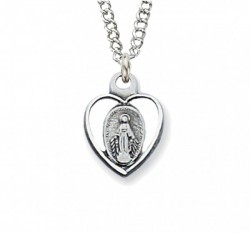 Child Size Open-Cut Heart Sterling Silver Miraculous Medal [CM2037]