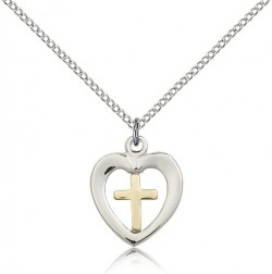 Heart and Cross Pendant Two-Tone [BM0355]